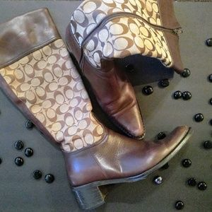 Coach Print Calf  Boots (with original box)